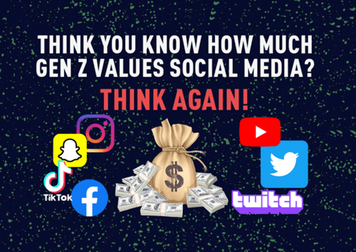 a poster saying 'think you know how much gen z values social media? think again' on it
